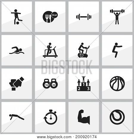 Set Of 16 Editable Exercise Icons. Includes Symbols Such As Bodybuilding, Gauntlet, Physical Education And More