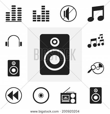 Set Of 12 Editable Song Icons. Includes Symbols Such As Backward, Melody Seeking, Tone And More