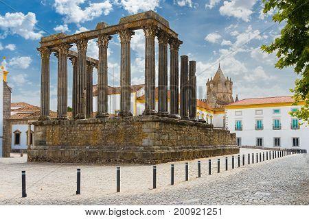 Temple of Diana  in Evora Portugal. Roman temple