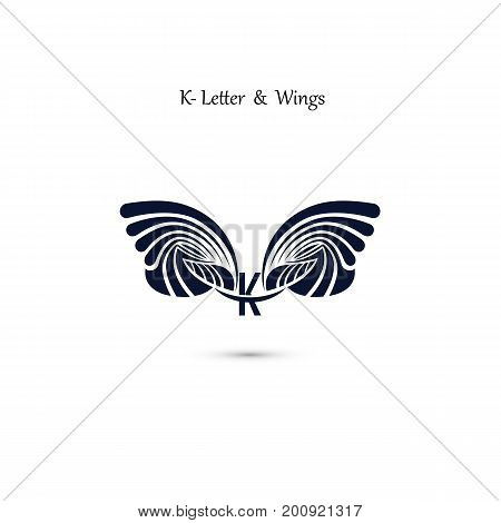 K-letter sign and angel wings.Monogram wing vector logo template.Vector illustration.