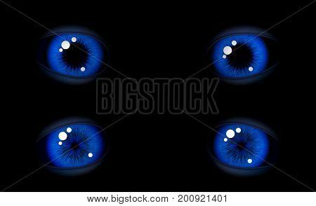 Blue eyes. A wide pupil.