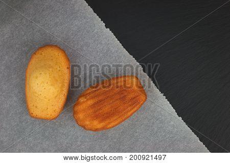 Fresh bake mini cake madeleines icing sugar on top on black slate plate