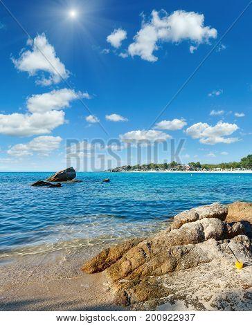 Summer Morning Platanitsi Beach, Sithonia, Greece.