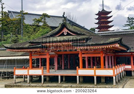A floating building Haraiden purification hall of the Mardo auxiliary shrine at Itsukushima Shrine. It is in the city of Hatsukaichi in Hiroshima Prefecture in Japan.