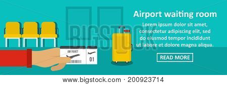 Airport waiting room banner horizontal concept. Flat illustration of airport waiting room banner horizontal vector concept for web