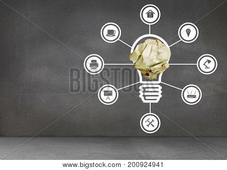 Digital composite of light bulb with crumpled paper ball and connections