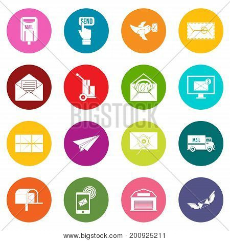 Poste service icons many colors set isolated on white for digital marketing