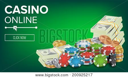 Casino Banner Vector. Online Poker Gambling Casino Banner Sign. Bright Chips, Dollar Coins, Banknotes. Winner Lucky Symbol. Jackpot Casino Billboard