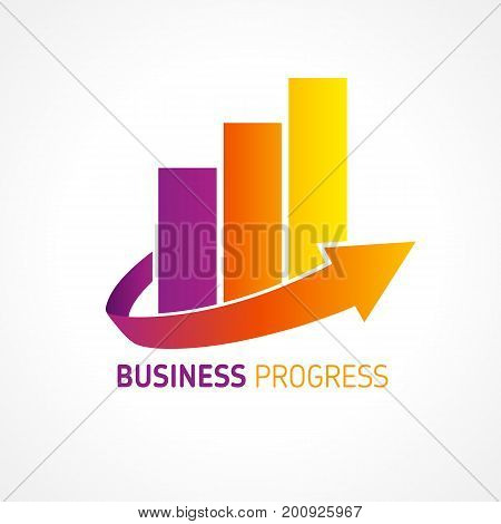 Business progress company logo. Colored chart marketing arrow logo icon vector template