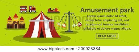 Amusement park banner horizontal concept. Flat illustration of amusement park banner horizontal vector concept for web