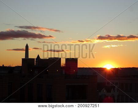 Vibrant Sunset In Washington D.c. With The Washington Monument In The Background