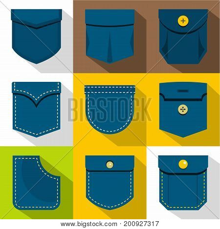 Woman pocket icons set. Flat set of 9 woman pocket vector icons for web with long shadow