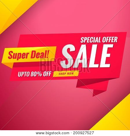sale special offer banner template on red background