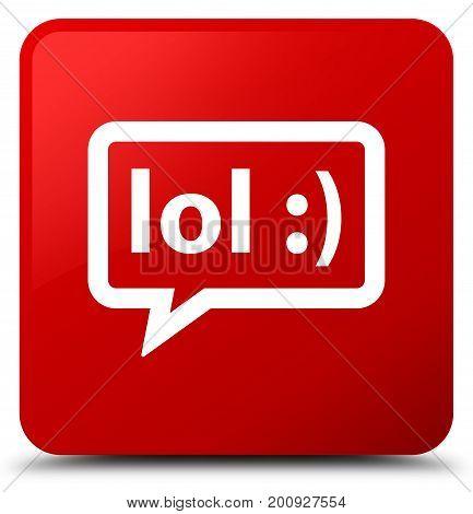 Lol Bubble Icon Red Square Button