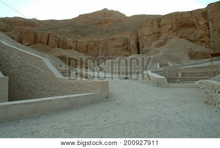 The tombs in the valley of the kings without people, Thebes, UNESCO World Heritage Site, Egypt, North Africa, Africa