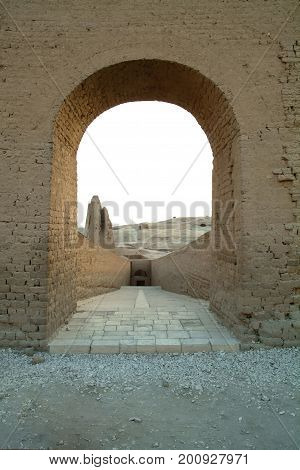 Ancient stone arch near the Temple of Queen Hatshepsut without people, Luxor, Thebes, UNESCO World Heritage Site, Egypt, North Africa, Africa