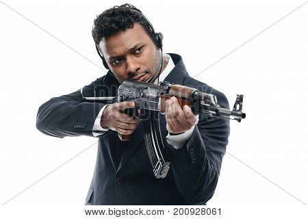 African American Bodyguard With Rifle