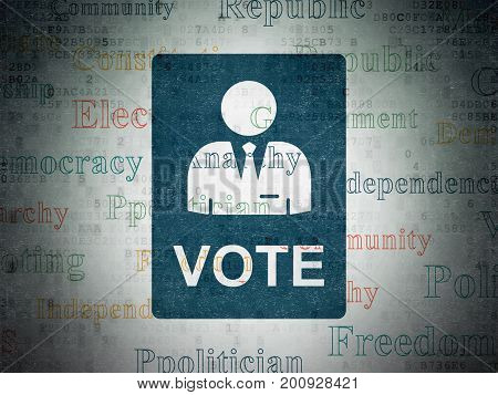 Political concept: Painted blue Ballot icon on Digital Data Paper background with  Tag Cloud
