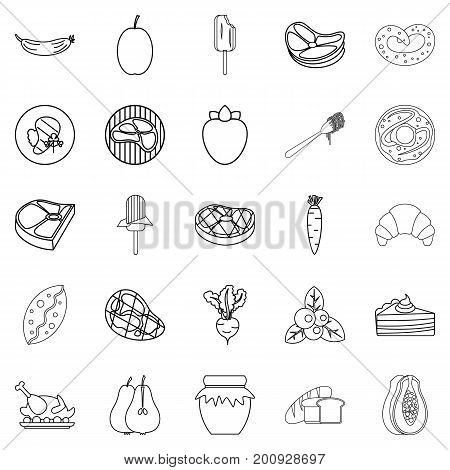 Punch icons set. Outline set of 25 punch vector icons for web isolated on white background