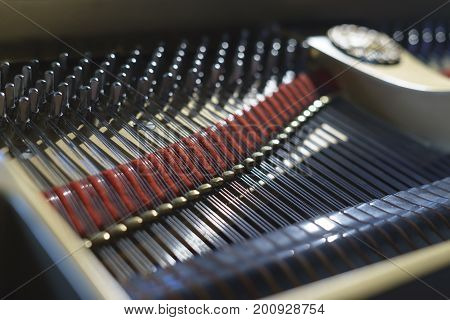 Piano chords and hammers from the inside. Very shallow depth of field. Inside picture.