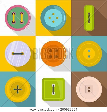 Sewing items icons set. Flat set of 9 sewing items vector icons for web with long shadow