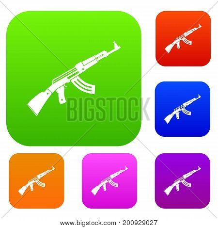 Submachine gun set icon in different colors isolated vector illustration. Premium collection