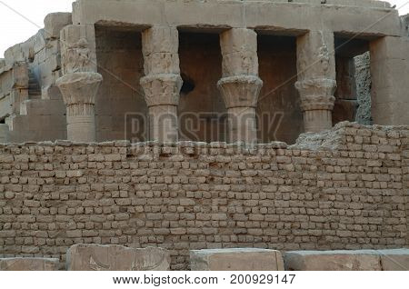 Different columns (ionic, Doric) in the Temple of God Horus at Edfu island, Egypt, North Africa, Africa