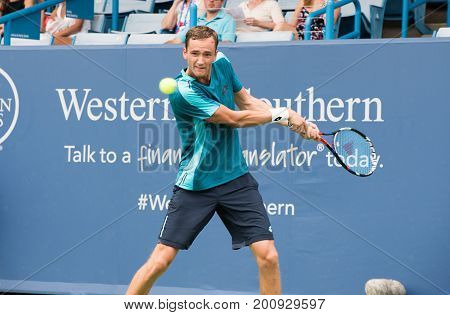 Mason Ohio - August 14 2017: Daniil Medvedev in a first round match at the Western and Southern Open tennis tournament in Mason Ohio on August 14 2017.