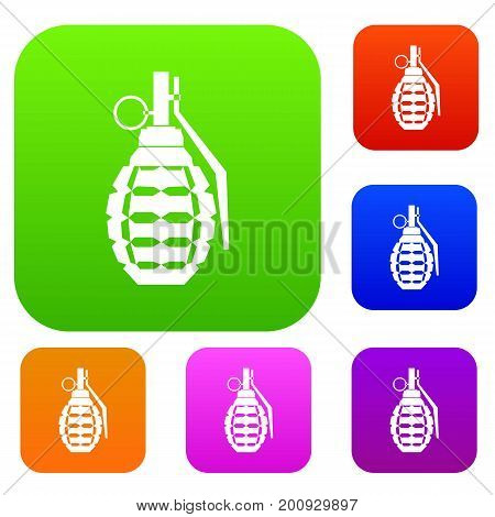 Hand grenade, bomb explosion set icon in different colors isolated vector illustration. Premium collection