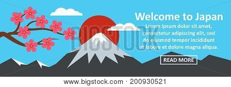 Welcome to Japan banner horizontal concept. Flat illustration of welcome to Japan banner horizontal vector concept for web