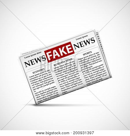 Fake news in daily newspapers. Icon of the periodical press with lies and propaganda. Stock vector illustration.