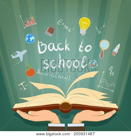 Human hands holding a book. Back to school. From textbook fly away the scientific icons in hand drawn style. Stock vector illustration.