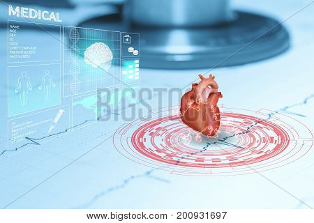 heart and stethoscope on graph ekg data patient
