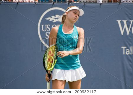 Mason Ohio - August 16 2017: Daria Gavrilova in a second round match at the Western and Southern Open tennis tournament in Mason Ohio on August 16 2017.