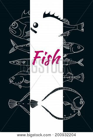 Template with set of sea fish on black background. Perch cod mackerel flounder saira. Vector doodle. Elements for your fish template. Illustration isolated and grouped for easy editing.