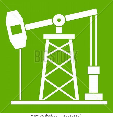Oil derrick icon white isolated on green background. Vector illustration