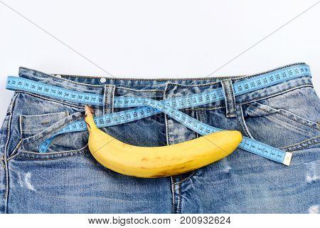 Mens Denim Pants With Banana Imitating Male Genitals
