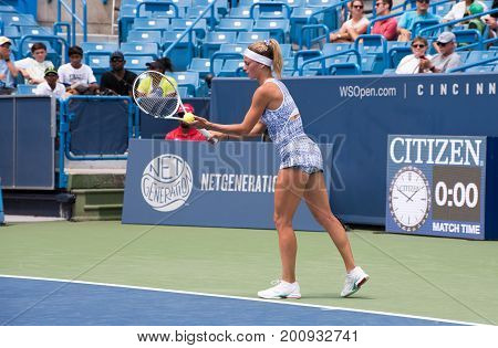 Mason Ohio - August 13 2017: Camila Girogi in a qualifying match at the Western and Southern Open tennis tournament in Mason Ohio on August 13 2017.