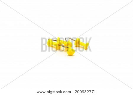 Drawing pins. Concrete buttons-carnations isolated on white background