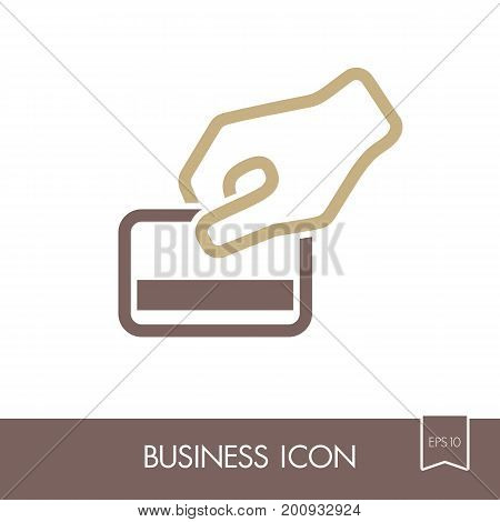 Hand swipe credit card during purchase outline icon. Business sign. Graph symbol for your web site design logo app UI. Vector illustration EPS10.