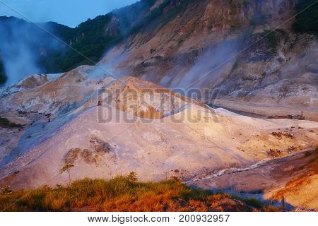 Jigokudani hell Valley in Noboribetsu Hokkaido most famous hot spring onsen resort at night Japan