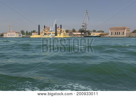 View of a shipyard in the lagoon of Venice Italy to understand an industrial concept