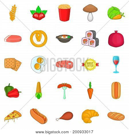 Butcher's meat icons set. Cartoon set of 25 butcher's meat vector icons for web isolated on white background