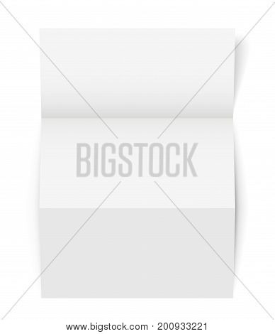 Vertical Tri-Fold A4-A5 Brochure template, Realistic Vector Illustration with shadows