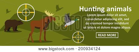 Hunting animals banner horizontal concept. Flat illustration of hunting animals banner horizontal vector concept for web