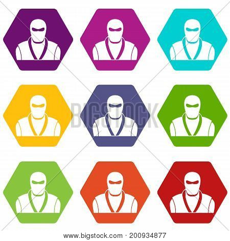 Ninja in black mask icon set many color hexahedron isolated on white vector illustration