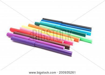 Felt pens, multicolored, isolated on white background