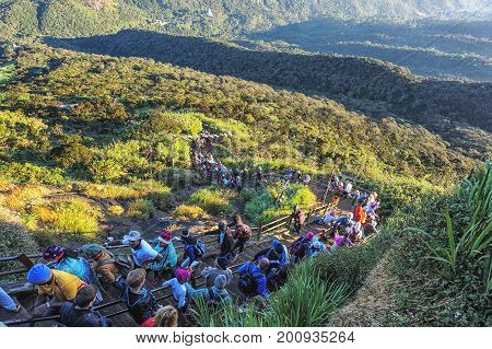 Pilgrims climb the trail to the holy mountain Adams Peak ( also Sri Pada ) is the most popular pilgrim place in Sri Lanka.