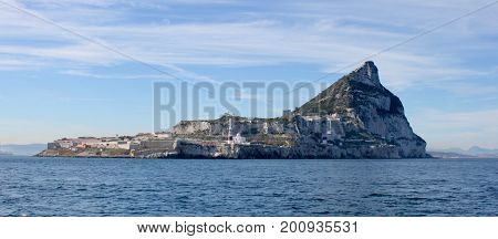 British Rock of Gibraltar from the sea looking north