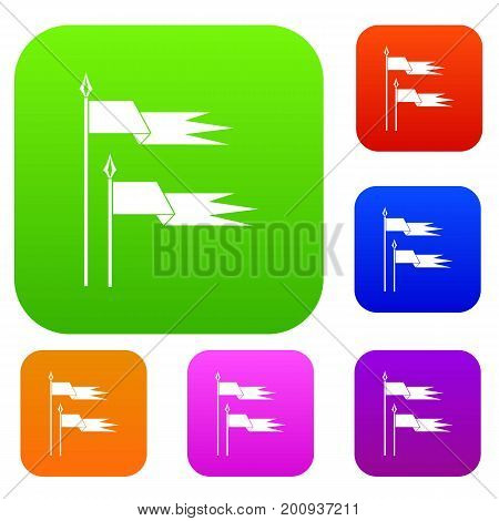 Ancient battle flags set icon in different colors isolated vector illustration. Premium collection